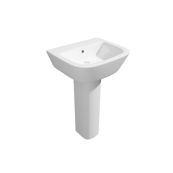 Wove 530mm 1 Tap Hole Basin And Full Pedestal