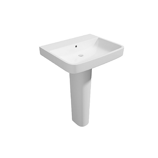 Hello 550mm 1 Tap Hole Basin And Full Pedestal
