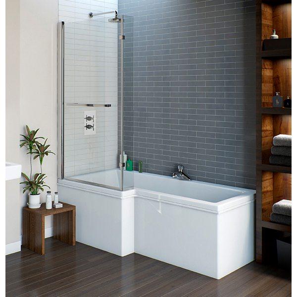Velo L Shape Shower Bath 1675 x 700mm With Manhattan Screen