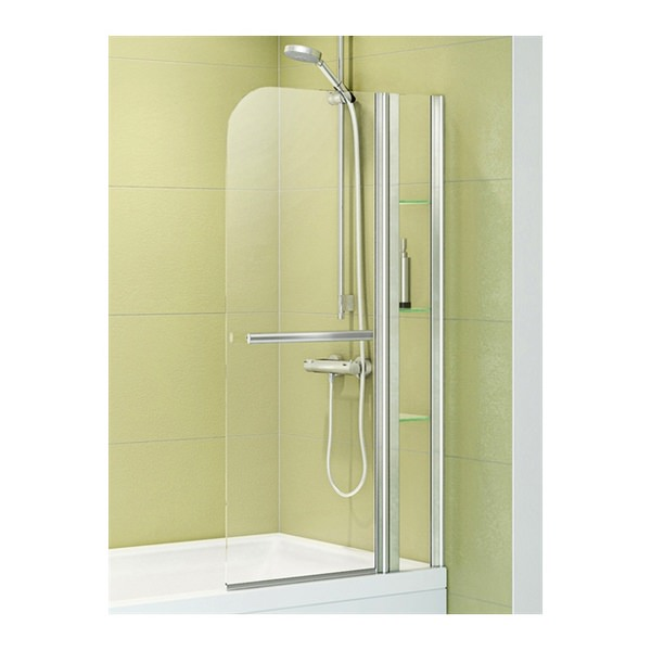 Additional image of Sophia 800mm x 1400mm 2 Panel Overbath Screen With Shelves