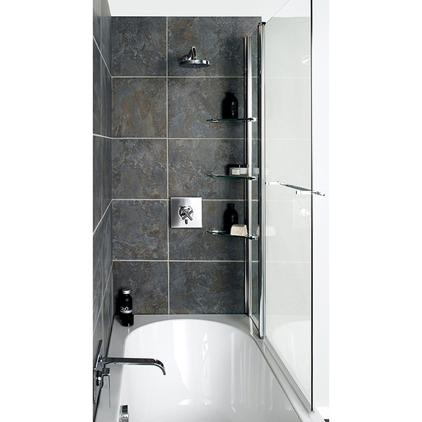 Alternate image of Avada Fixed Bath Screen With Shelves 1000 x 1500mm