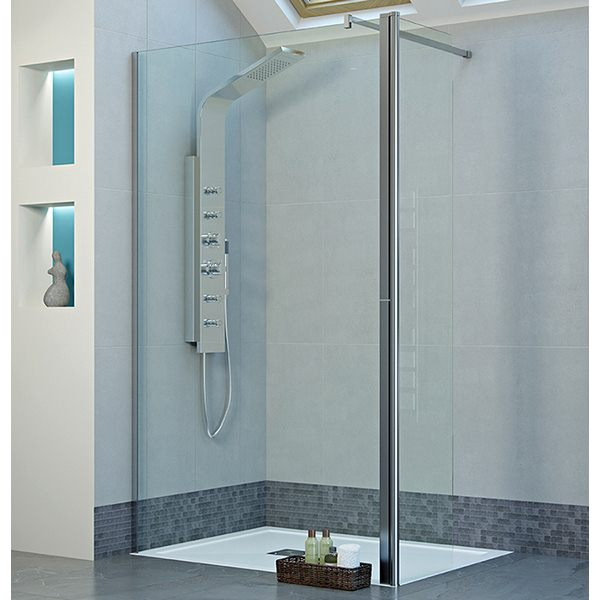 Mist Frameless 900mm Wetroom Panel With 300mm Rotatable Panel