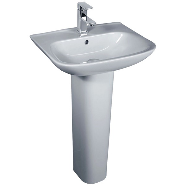 Glaze 450mm 1 Tap Hole Basin And Full Pedestal