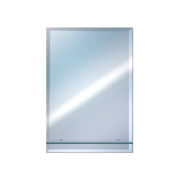 EuroShowers Rectangular Bevelled Mirror With Glass Shelf 400 x 500mm