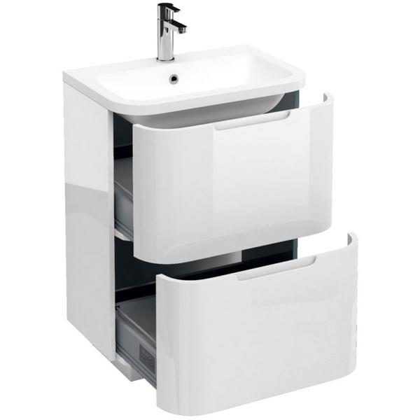 Aqua Cabinets Compact White 600mm 2 Drawer Floor Standing Basin Vanity Unit