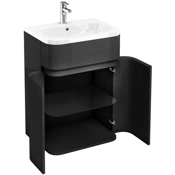 Aqua Cabinets Gullwing Grey 600mm Floor Standing Vanity Unit With Basin