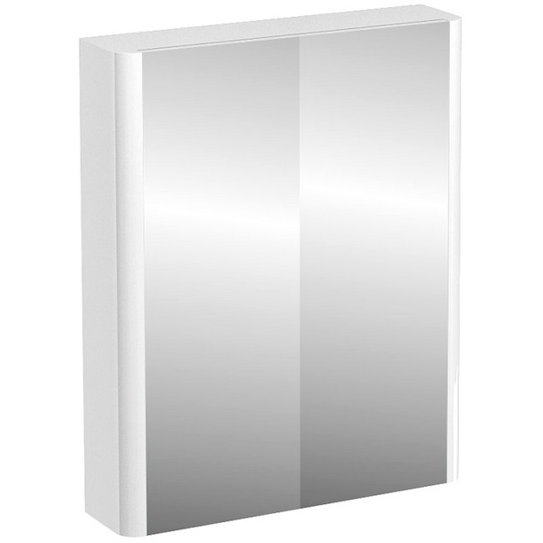 Aqua Cabinets Compact White 600mm Double Mirrored Door Cabinet