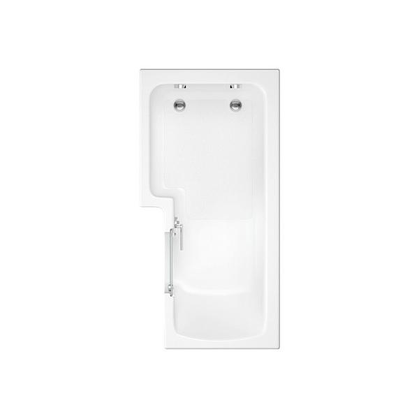 L Shape Solarna Walk-in Shower Bath With Screen 1700 x 850-700mm