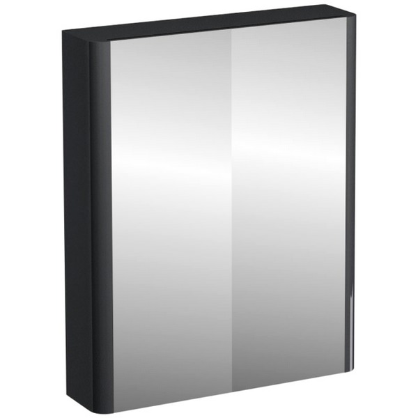 Aqua Cabinets Compact Grey 600mm Double Mirrored Door Cabinet