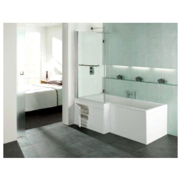 Porto L Shape 1675 x 700mm Shower Bath With Storage Panel And Screen