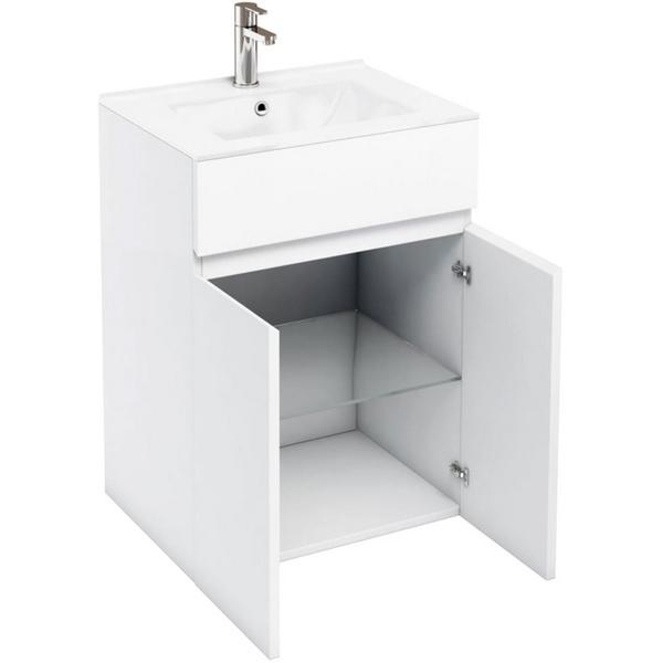Aqua Cabinets D450 White 600mm Floor Standing Double Door Vanity Unit