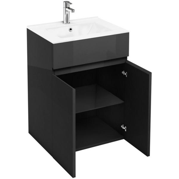 Aqua Cabinets D450 Grey 600mm Floor Standing Double Door Vanity Unit