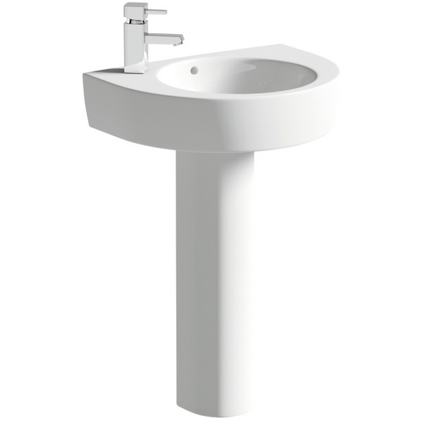 Lux Realty 550mm 1 Tap Hole Basin With Full Pedestal