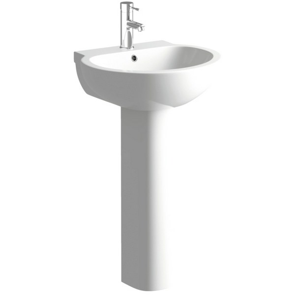 Vicki 535mm 1 Tap Hole Basin With Full Pedestal