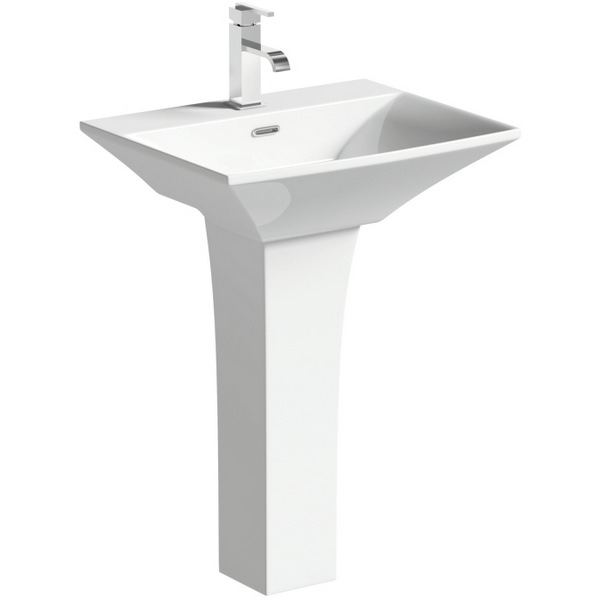 Cloe 600mm 1 Tap Hole Basin With Full Pedestal