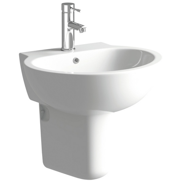 Cream 530mm 1 Tap Hole Basin With Semi Pedestal