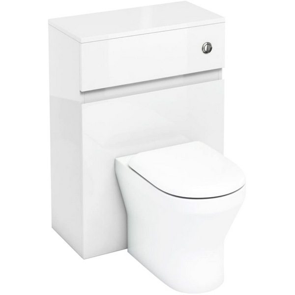 Aqua Cabinets D300 White Back To Wall WC Unit With Push Button Cistern