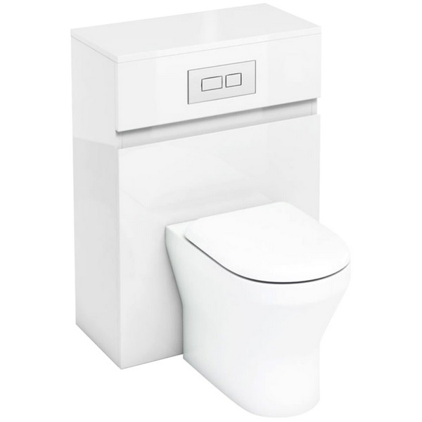 Aqua Cabinets D300 White 600mm Back To Wall WC Unit With Flush Plate