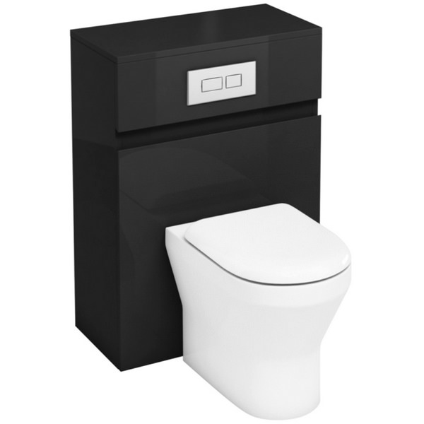 Aqua Cabinets D300 Grey 600mm Back To Wall WC Unit With Flush Plate