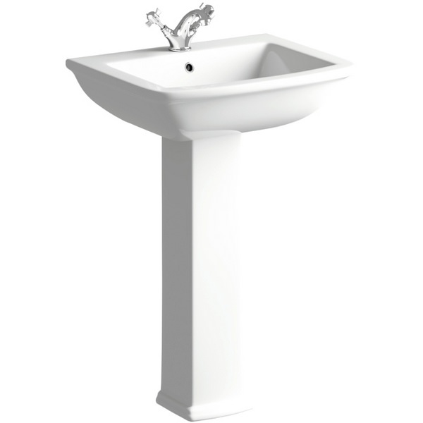 Porto 600mm 1 Tap Hole Basin With Full Pedestal