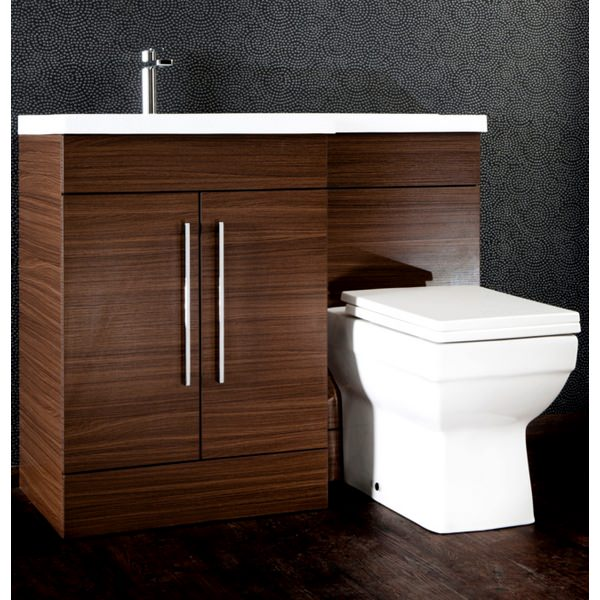 Additional image of Cassellie L Shaped Walnut Basin Vanity And Back To Wall WC Unit
