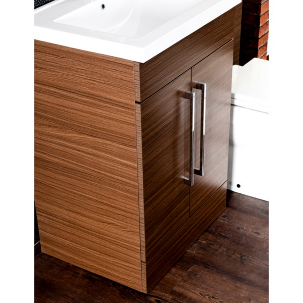 Alternate image of Cassellie L Shaped Walnut Basin Vanity And Back To Wall WC Unit