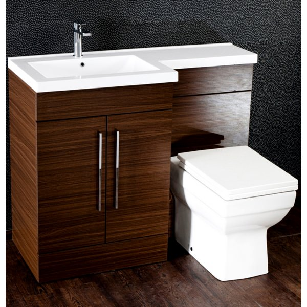 Cassellie L Shaped Walnut Basin Vanity And Back To Wall WC Unit