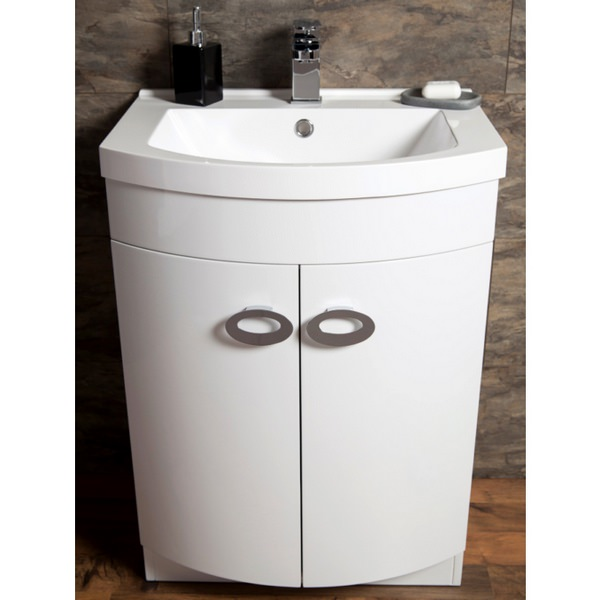 Additional image of Cassellie D Shaped Gloss White Basin Vanity Unit 600mm