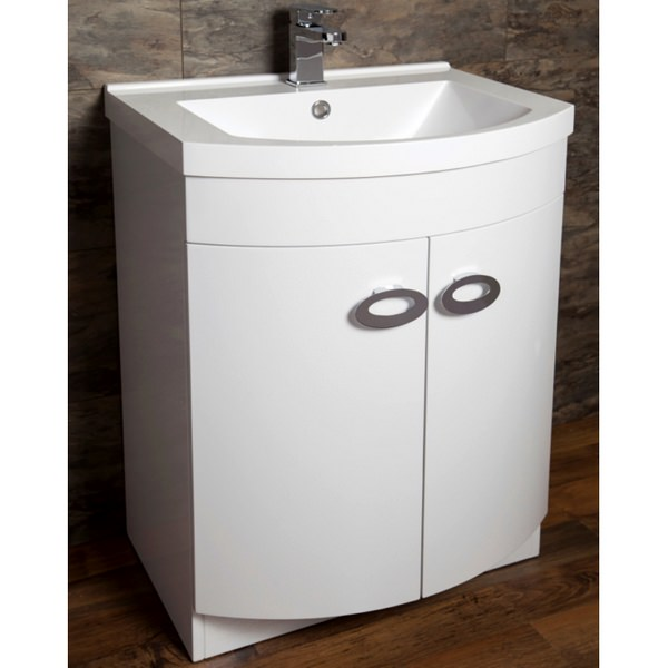 Cassellie D Shaped Gloss White Basin Vanity Unit 600mm