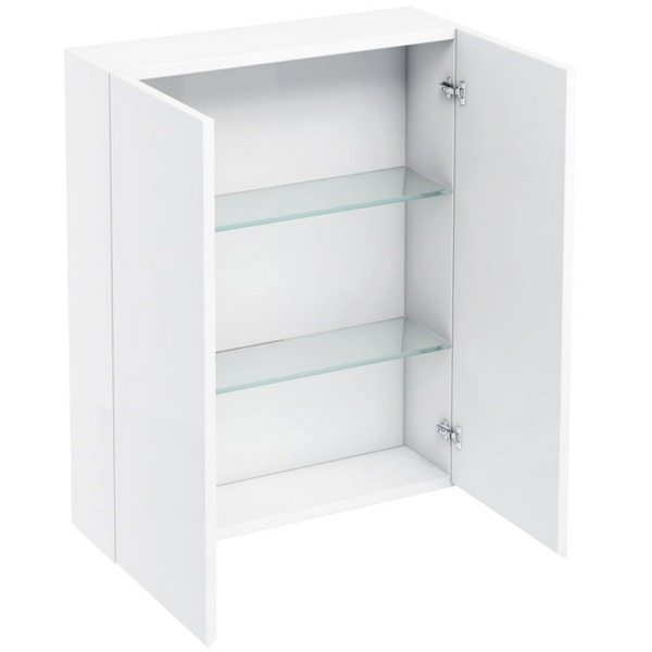 Aqua Cabinets White 600mm Double Door Wall Mounted Cabinet