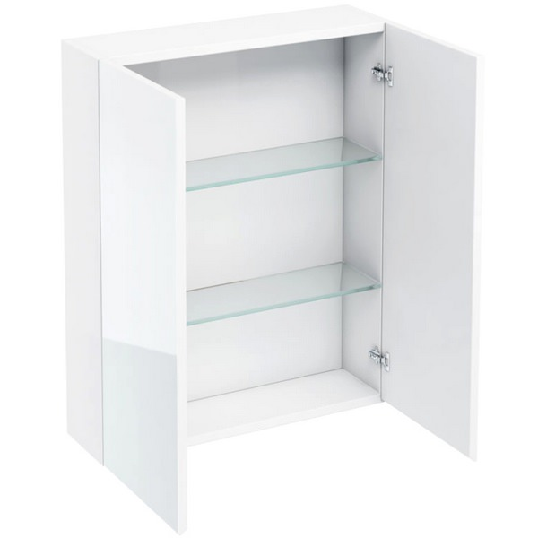 Aqua Cabinets White 600mm Double Mirrored Door Wall Cabinet