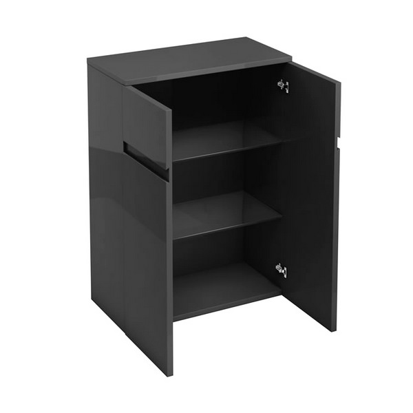 Aqua Cabinets D30 Anthracite Grey 600mm Floor Standing Double Door Unit