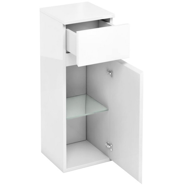 Aqua Cabinets D30 White 300mm Single Door And Drawer Unit