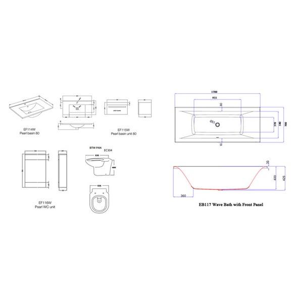 Technical drawing B3-22266 / EB117, EB206, EF114W