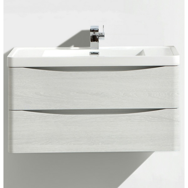 Bali White Ash 900mm Wall Mounted Vanity Unit With Basin