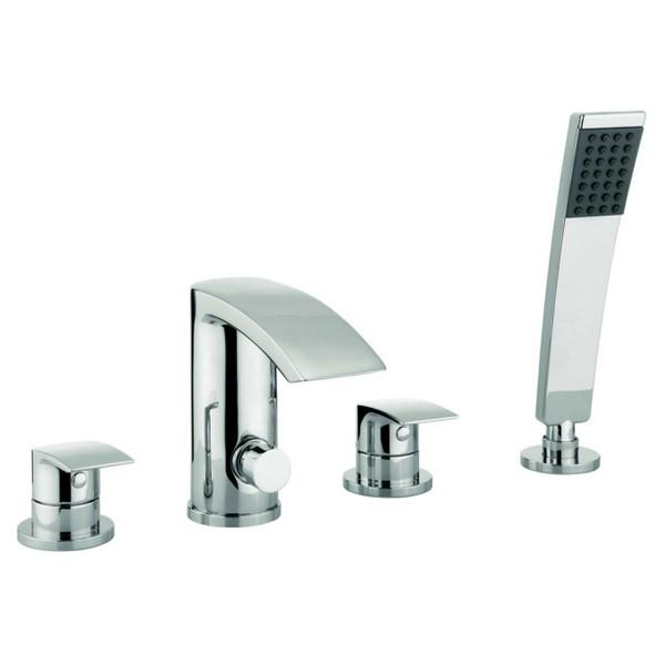 Adora Flow 4 Hole Deck Mounted Bath Shower Mixer Tap Set ...