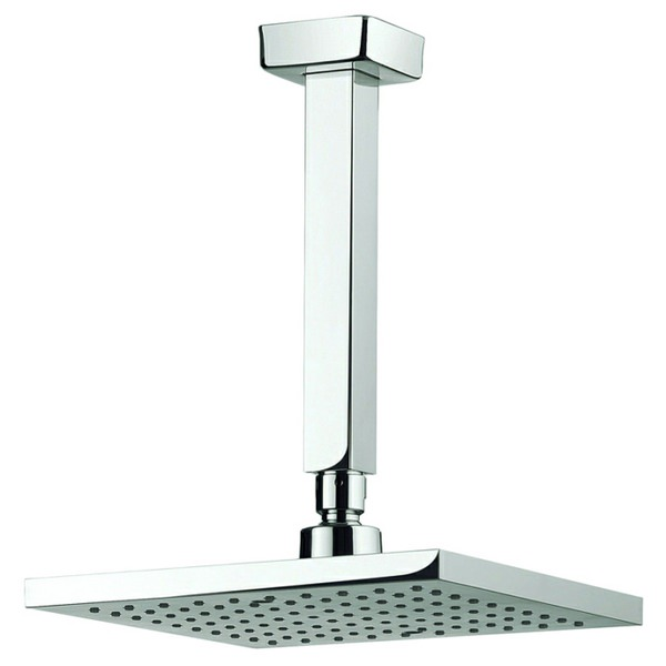 Adora Planet 200mm Square Fixed Shower Head With 200mm Ceiling Mounted Arm