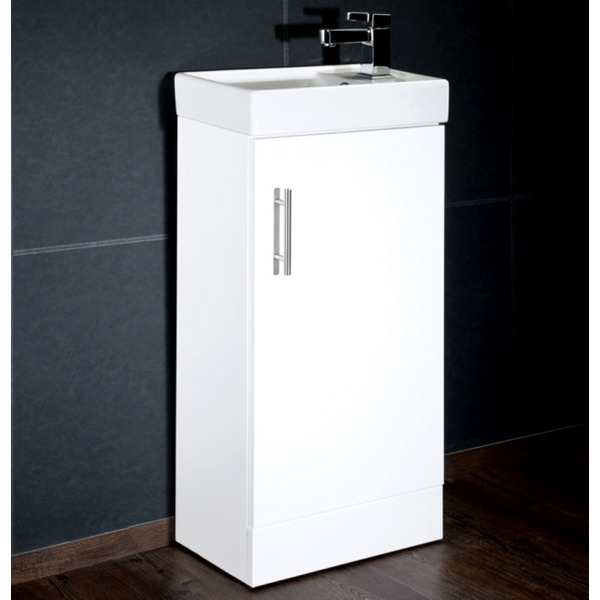 Cassellie Gloss White 400mm Cube Unit With Basin