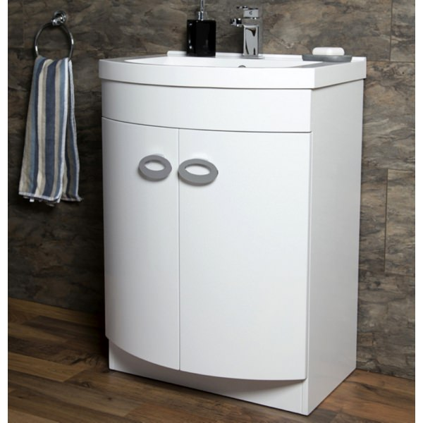 Alternate image of Cassellie D Shaped Gloss White Basin Vanity Unit 600mm