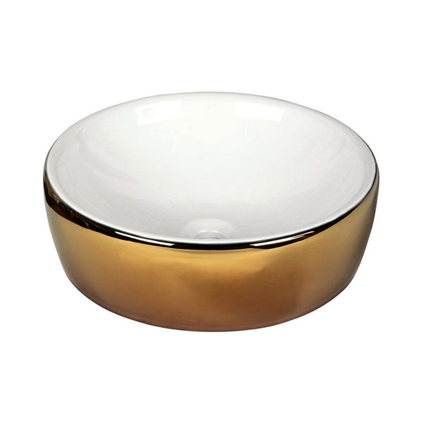 Dune Lavabo White And Gold 435mm Round Countertop Basin