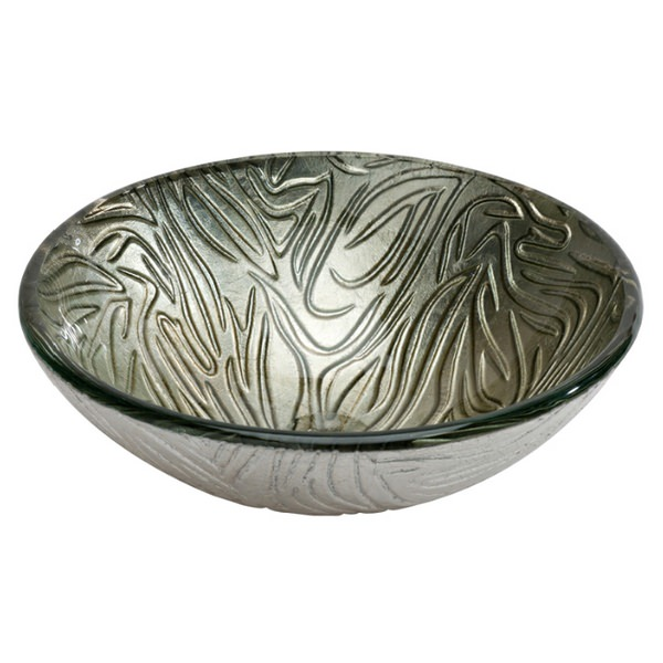 Dune Lavabo Forest 420mm Round Glass Washbasin Silver
