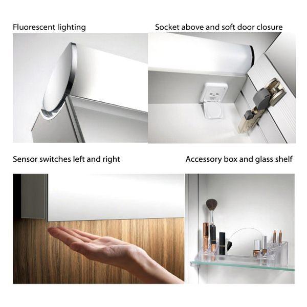 Additional image of Schneider FaceLine Double Door Illuminated Mirror Cabinet 900mm
