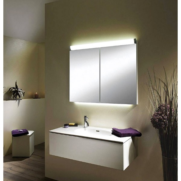 Additional image of Schneider Paliline 600mm 2 Door Mirror Cabinet With LED Light