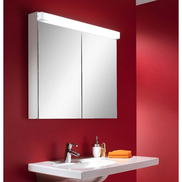 Additional image of Schneider Lowline 2 Door Mirror Cabinet With LED Light 900mm
