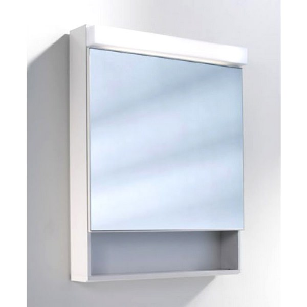 Schneider Lowline 600mm 1 Door Mirror Cabinet With LED Light And Shelf