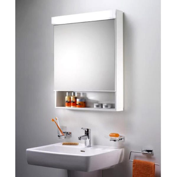 Additional image of Schneider Lowline 600mm 1 Door Mirror Cabinet With LED Light And Shelf