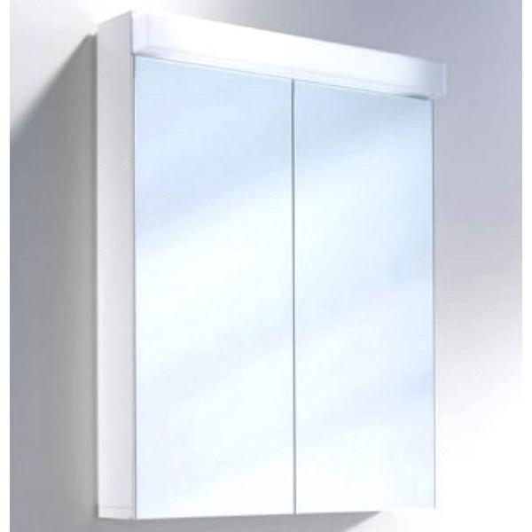 Schneider Lowline 2 Door Mirror Cabinet 600mm With Flourescent Lighting