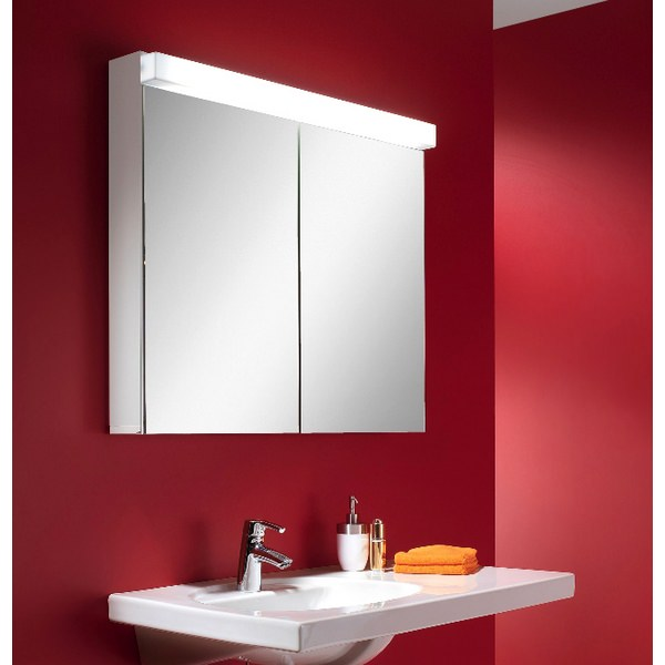 Additional image of Schneider Lowline 2 Door Mirror Cabinet 600mm With Flourescent Lighting