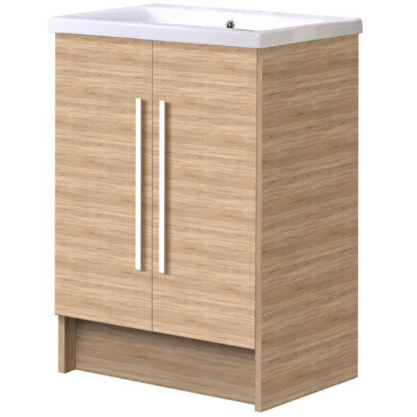 Alternate image of Noble Modular Natural Oak 500mm Freestanding Double Door Unit With Basin