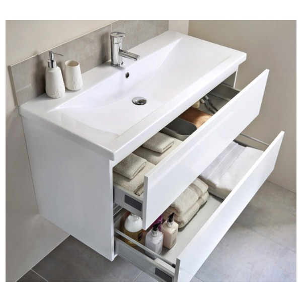 Shop Mirrored Glass Double Rail Vanity Tray 12 X 16: Utopia Qube 600mm Wall Hung 2 Drawer Reduced Unit With